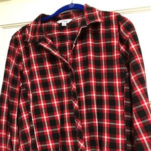 Red, black and white flannel, EUC